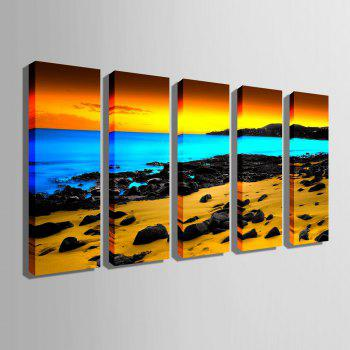Special Design Frameless Paintings Three color seaview 5PCS - YELLOW 9 X 28 INCH (24CM X 70CM)