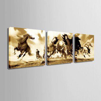 Special Design Frameless Paintings Black and white steeds 3PCS - BROWN 24 X 24 INCH (60CM X 60CM)