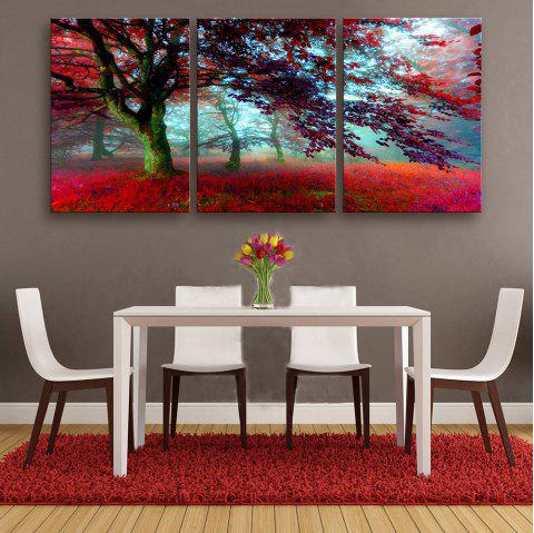 Special Design Frameless Paintings Red maple leaves 3PCS - RED 16 X 11 INCH (40CM X 28CM)