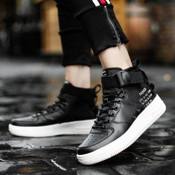 Couples in Autumn and Winter  Double Zipper High Shoes - BLACK BLACK