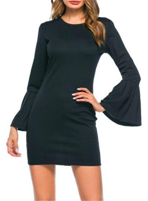 New Trumpet Sleeve Long Sleeved Self Cultivation Mini Dress - BLACK S