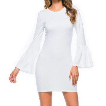 New Trumpet Sleeve Long Sleeved Self Cultivation Mini Dress - WHITE WHITE