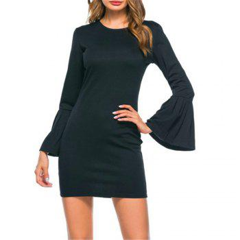 New Trumpet Sleeve Long Sleeved Self Cultivation Mini Dress - BLACK BLACK