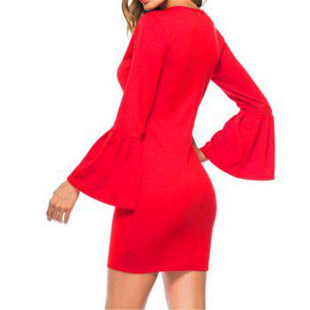 New Trumpet Sleeve Long Sleeved Self Cultivation Mini Dress - RED XL