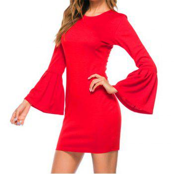 New Trumpet Sleeve Long Sleeved Self Cultivation Mini Dress - RED RED