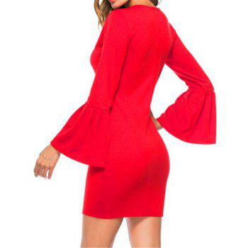 New Trumpet Sleeve Long Sleeved Self Cultivation Mini Dress - RED M