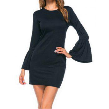 New Trumpet Sleeve Long Sleeved Self Cultivation Mini Dress - BLACK XL