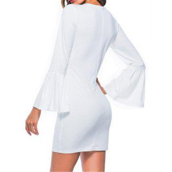 New Trumpet Sleeve Long Sleeved Self Cultivation Mini Dress - WHITE M