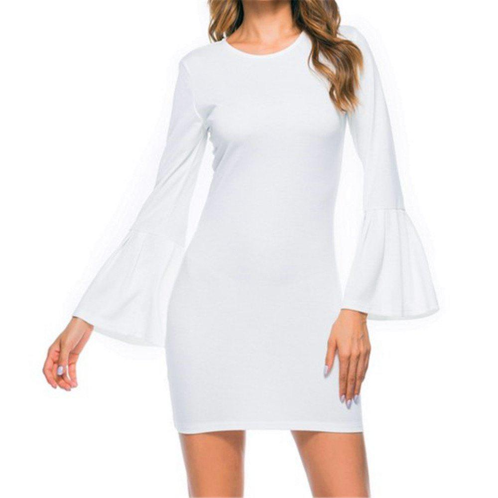 New Trumpet Sleeve Long Sleeved Self Cultivation Mini Dress - WHITE S
