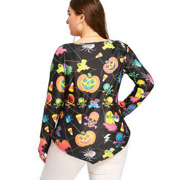 Printed Long Sleeved T-Shirt with Skull Prints - FLORAL XL