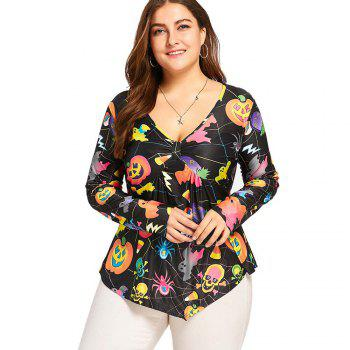Printed Long Sleeved T-Shirt with Skull Prints - FLORAL 4XL