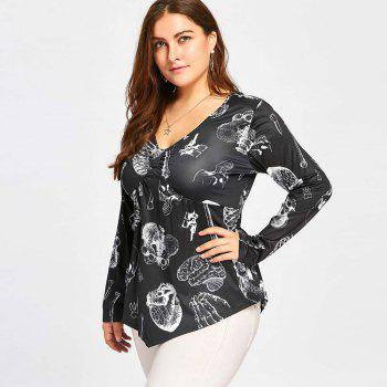 Printed Long Sleeved T-Shirt with Skull Prints - BLACK BLACK