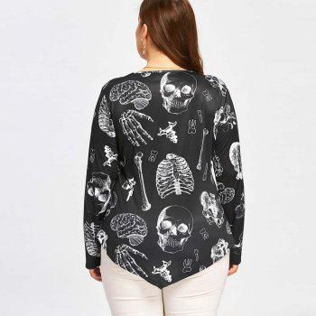 Printed Long Sleeved T-Shirt with Skull Prints - BLACK 4XL