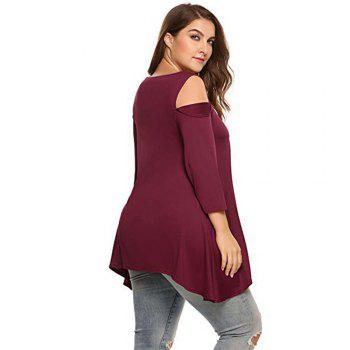 Fat MM Large Size Women T-Shirt and Pure Strapless Seven Sleeves - WINE RED 2XL