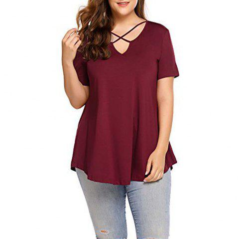 Big Code Women'S Fat MM Increase V Collar Cross Short Sleeve - WINE RED 3XL