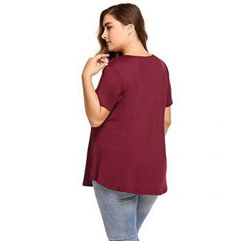 Big Code Women'S Fat MM Increase V Collar Cross Short Sleeve - WINE RED WINE RED