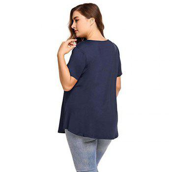 Big Code Women'S Fat MM Increase V Collar Cross Short Sleeve - CADETBLUE 3XL