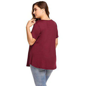 Big Code Women'S Fat MM Increase V Collar Cross Short Sleeve - WINE RED 2XL