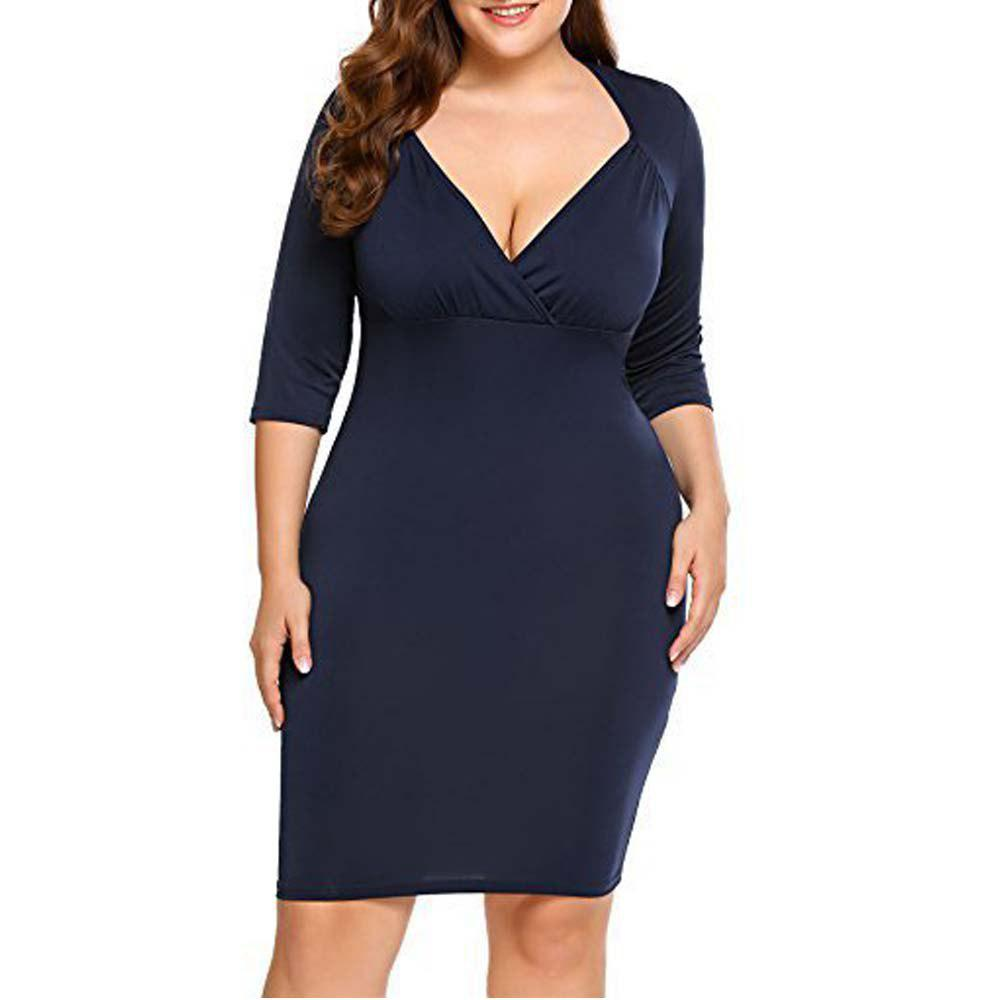 Big Size Evening Dress V Collar Seven Point Sleeve Dress - CADETBLUE 2XL