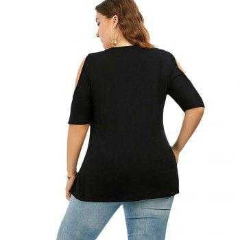 The Code Add Fertilizer Increased V Strapless Short Sleeved Shirt T-Shirt Collar - BLACK 3XL