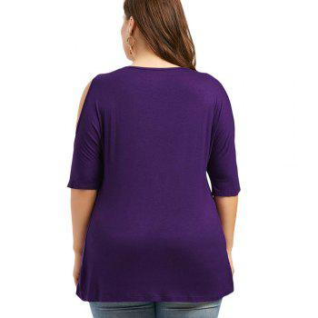 The Code Add Fertilizer Increased V Strapless Short Sleeved Shirt T-Shirt Collar - PURPLE PURPLE