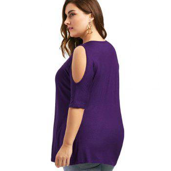 The Code Add Fertilizer Increased V Strapless Short Sleeved Shirt T-Shirt Collar - PURPLE 3XL
