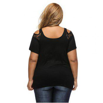 Large Size T-Shirt Sexy Strapless Short Sleeved Lace Stitching Fold Ladies T-shirt - BLACK BLACK