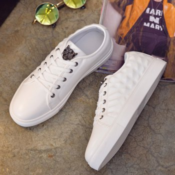 Men's Casual Lace Up Running Shoes Sneakers - WHITE WHITE