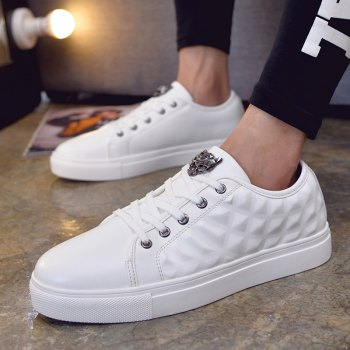 Men's Casual Lace Up Running Shoes Sneakers - WHITE 40