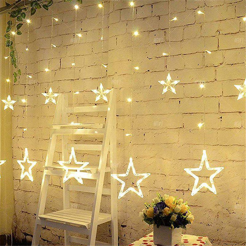 2M Romantic Fairy Star Led Curtain String Light EU 220V Xmas Garland Light for Wedding Party Holiday Decor - WARM WHITE LIGHT