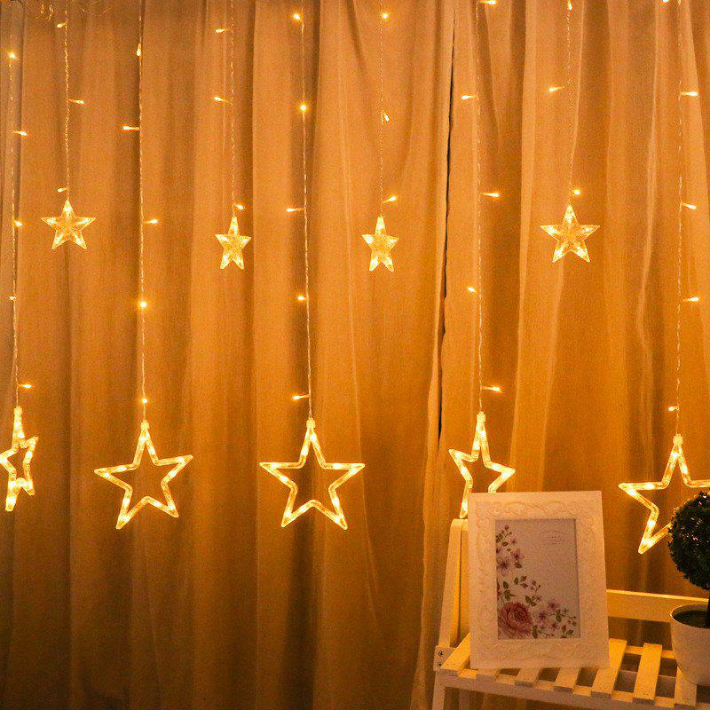 2M Romantic Fairy Star Led Curtain String Light EU 220V Xmas Garland Light for Wedding Party Holiday Decor - YELLOW