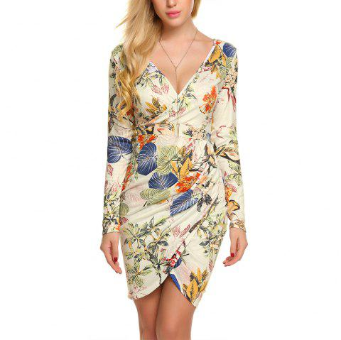 New European and American V-Neck Long Sleeve Printed Dress - APRICOT S