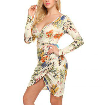 New European and American V-Neck Long Sleeve Printed Dress - APRICOT M