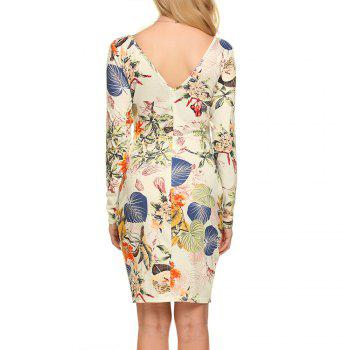 New European and American V-Neck Long Sleeve Printed Dress - APRICOT APRICOT