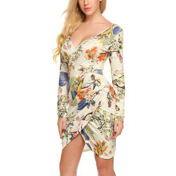New European and American V-Neck Long Sleeve Printed Dress - APRICOT XL