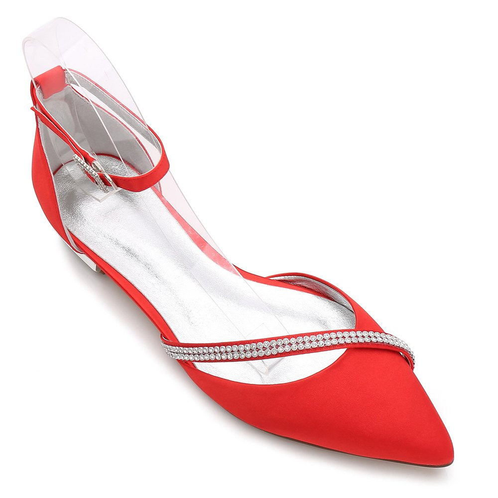 Women's Wedding Shoes Basic Pump Ankle Strap Comfort Spring Summer Satin Wedding Party - RED 43