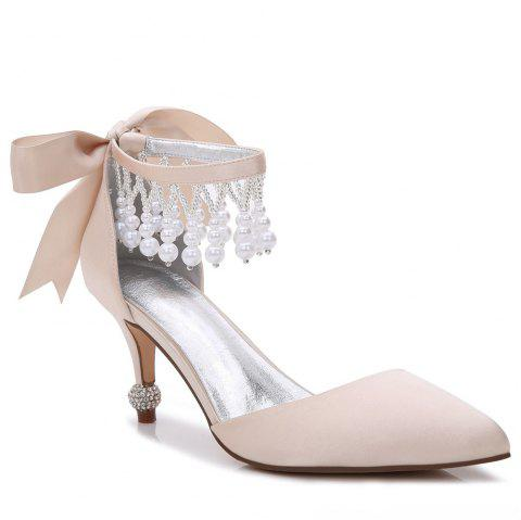 17767-18Women's Shoes Satin Spring Summer Basic Pump Comfort Ankle Strap Wedding Shoes Low Heel - CHAMPAGNE 40