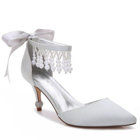 17767-18Women's Shoes Satin Spring Summer Basic Pump Comfort Ankle Strap Wedding Shoes Low Heel - SILVER 42
