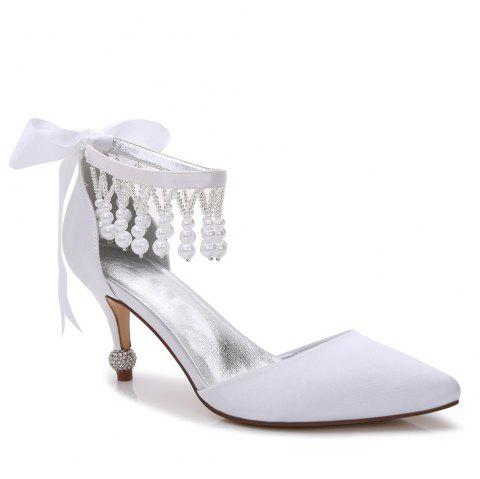 17767-18Women's Shoes Satin Spring Summer Basic Pump Comfort Ankle Strap Wedding Shoes Low Heel - WHITE 37