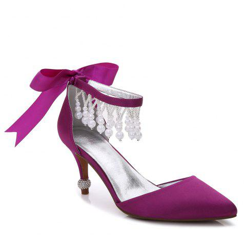 17767-18Women's Shoes Satin Spring Summer Basic Pump Comfort Ankle Strap Wedding Shoes Low Heel - PURPLE 36