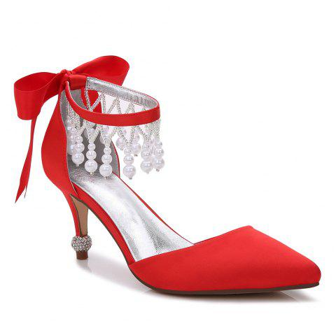 17767-18Women's Shoes Satin Spring Summer Basic Pump Comfort Ankle Strap Wedding Shoes Low Heel - RED 37