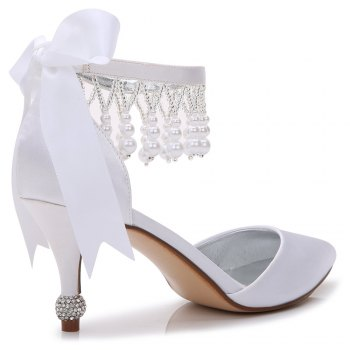 17767-18Women's Shoes Satin Spring Summer Basic Pump Comfort Ankle Strap Wedding Shoes Low Heel - WHITE 42