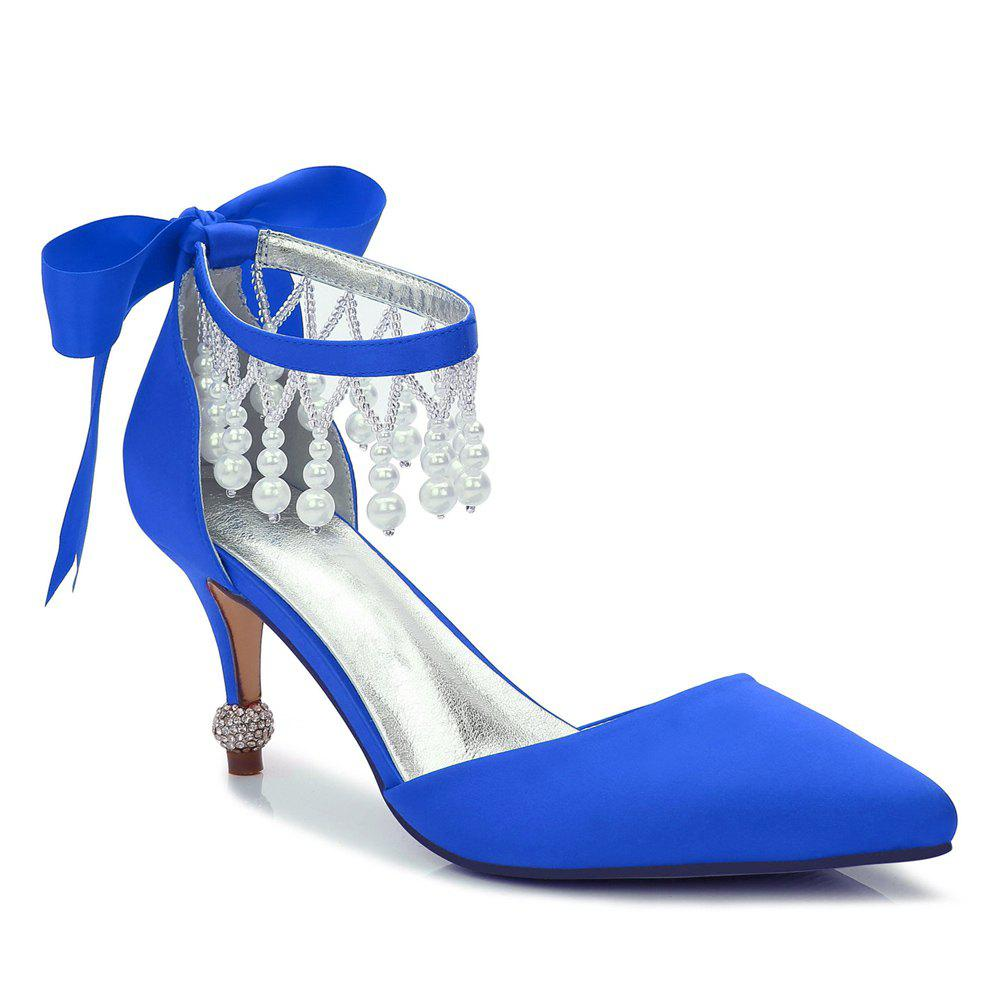 17767-18Women's Shoes Satin Spring Summer Basic Pump Comfort Ankle Strap Wedding Shoes Low Heel - BLUE 36