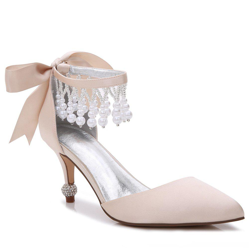 17767-18Women's Shoes Satin Spring Summer Basic Pump Comfort Ankle Strap Wedding Shoes Low Heel - CHAMPAGNE 42