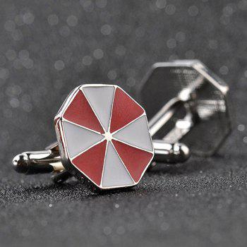 Men's Cufflinks Patchwork Color Geometrical Cuff Buttons Accessory - RED