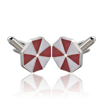 Men's Cufflinks Patchwork Color Geometrical Cuff Buttons Accessory - RED RED