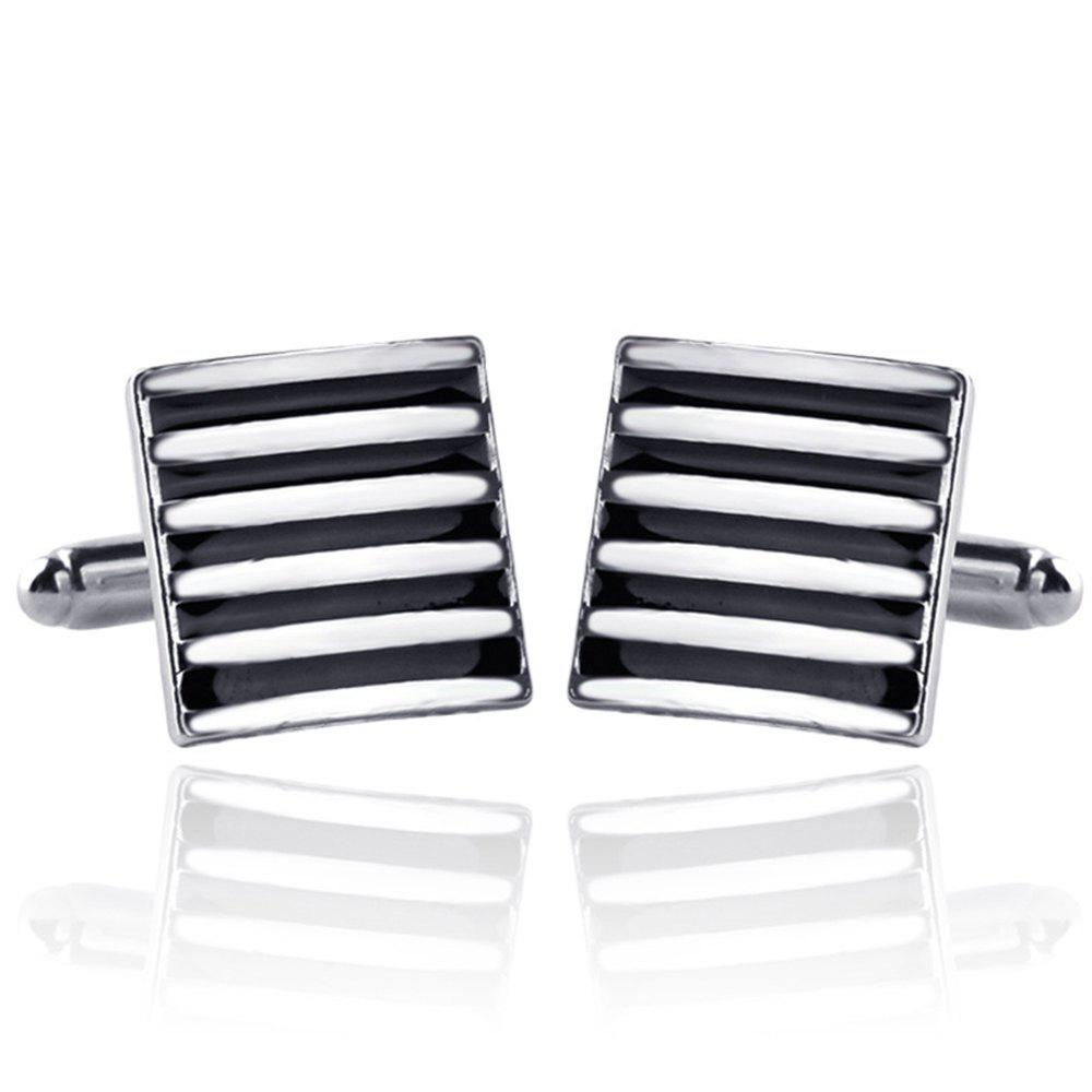 Men's Claasic Fine Striped Color Block Cuff Buttons Accessory - BLACK