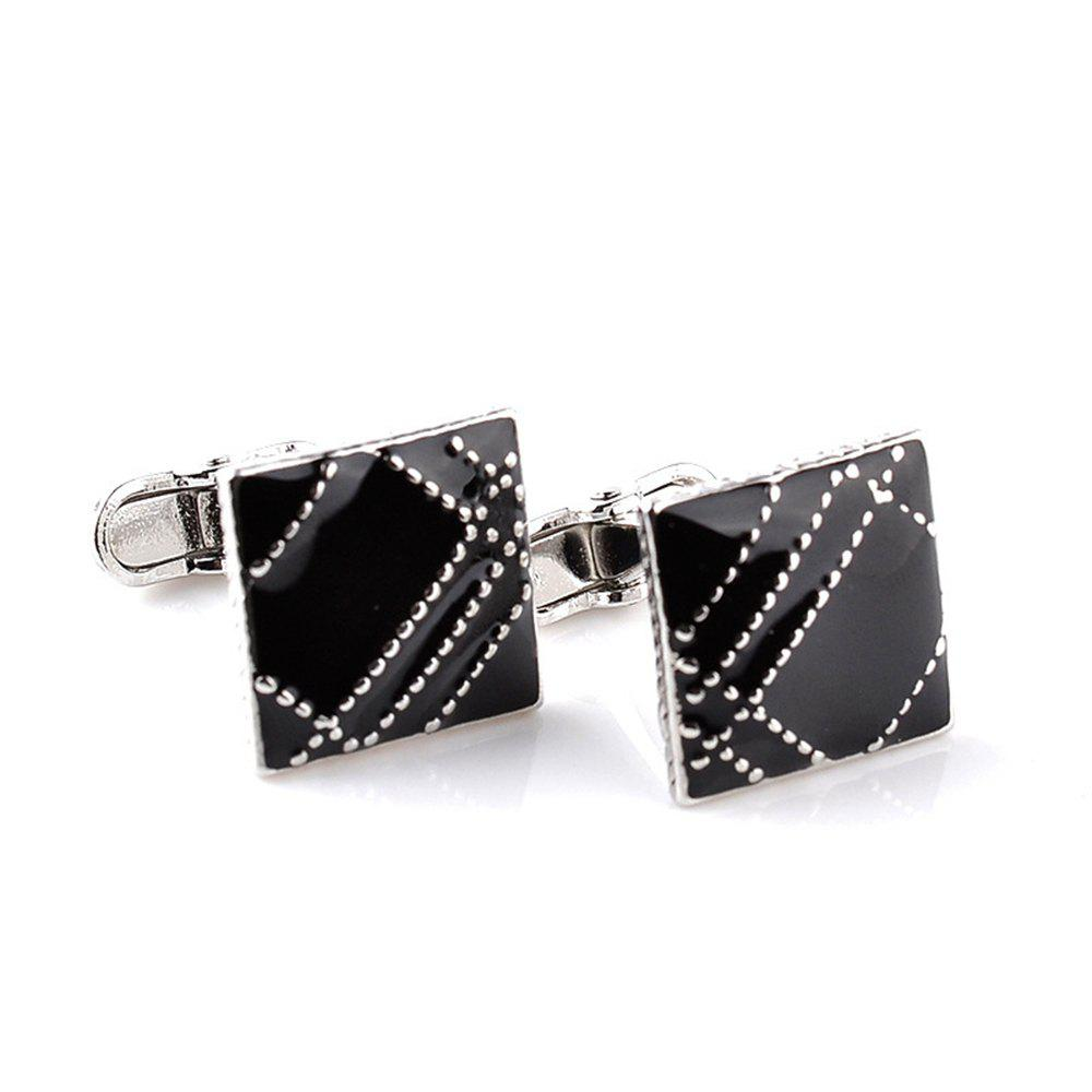 Men's Fine Design Elegant Alloy Fashion Cuff Buttons Accessory - BLACK