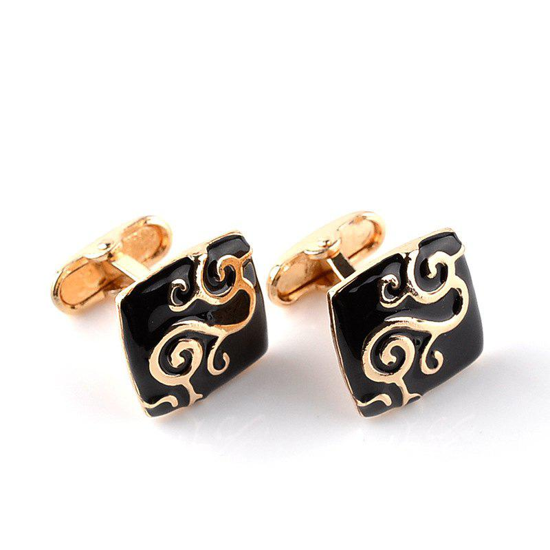 Men's Cufflinks Decorative Pattern All Match Cuff Buttons Accessory - BLACK