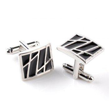Men's Cufflinks All Match Alloy Striped Oblong Cuff Buttons Accessory - BLACK STRIPE BLACK STRIPE